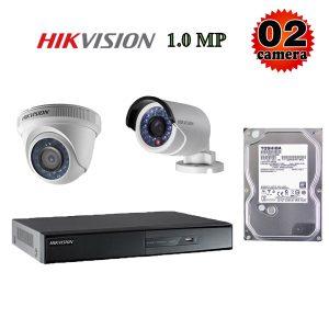 Lắp đặt trọn bộ 2 camera giám sát 1.0M Hikvision