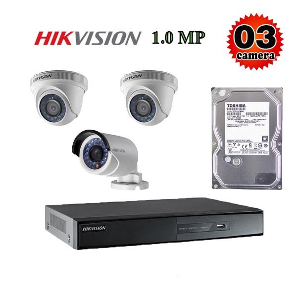 Trọn bộ 3 camera giám sát 1M Hikvision