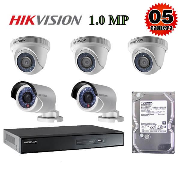Trọn bộ 5 camera giám sát 1M Hikvision