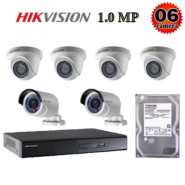 Trọn bộ 6 camera giám sát 1M Hikvision