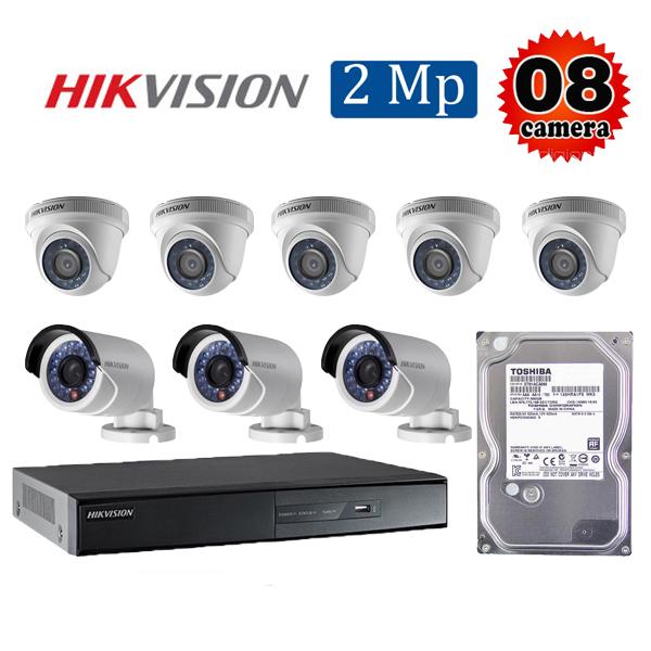 Trọn bộ 8 camera giám sát 2M Hikvision